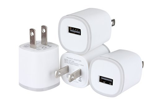 (Spark Electronics 4PC 1 Port Rapid Speed [Matte White] Tapered Universal USB Power Adapter Wall Charger Compatible with Apple iPhone 7 7 Plus 6 6S Plus 5 s C Samsung Galaxy S7/S6 Edge Note Nokia)