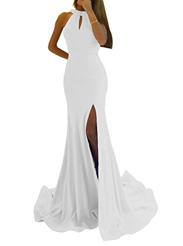 Women's Sexy Mermaid Prom Dress Long Side Split Halter Evening Gowns Party Maxi White Size 10 ()