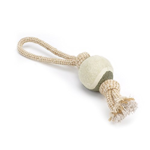 Evelyne GMT-10126 Pet Chewing Toys Double Scaffold Knots Hemp Rope with Tennis Ball, Dual Stopper End and Loop ()