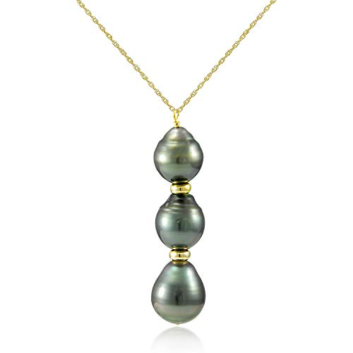14k Yellow Gold 8-10mm Black Baroque Tahitian Cultured Pearl Pendant Necklace, 18