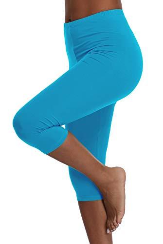 A-Wintage Womens High Waisted Ultra Soft Capri Leggings Yoga Pants,Sky - Sky Blue Capris Womens