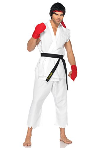 Leg Avenue Men's Street Fighter 5 Piece Ryu Costume, White, Small/Medium]()