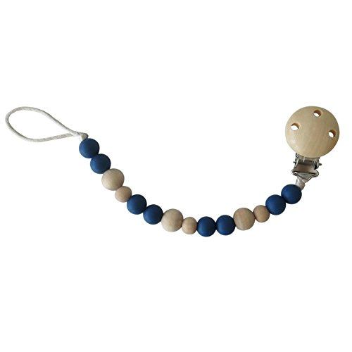 Eco-Friendly Silicone Pacifier Clip, Turquoise/Wood, BPA-Free