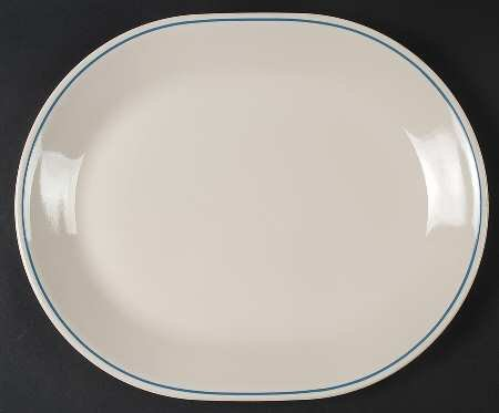 Corelle Corning Country Violets Beige Sandstone Blue Band Oval Platter Serving Tray