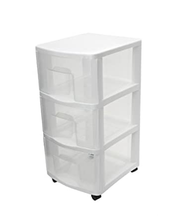 Elegant ETA Hand2mind White Plastic Medium 3 Drawer Storage Chest