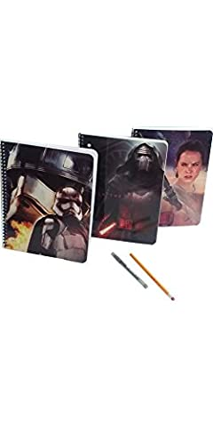 Star Wars Spiral Notebook ( Cuadernos Escolares ) Wide Ruled For School - 3 Notebooks Total with School Supplies Pencils - Wideruled 70sheets Paper Each - Hole Punched for Binders & Dividing (Galaxy College Ruled Notebook)