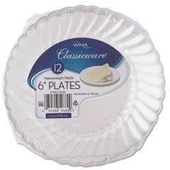 """WNA Classicware Plastic Plates, 6"""" Dia., Clear, 12 Plates..."""