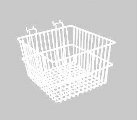 Lot of 6 - New White - 12''W x 12''D x 8''H Multi Basket - Fits Slatwall, Gridwall, Pegboard, and Slatgrid by Only Hangers