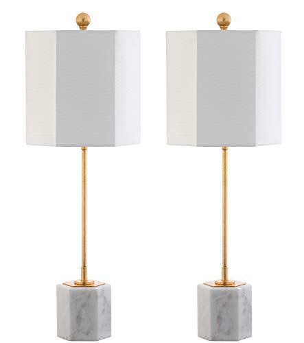 - Safavieh TBL4069A-SET2 Lighting Collection Magdalene Marble White and Gold Leaf Table Lamp,