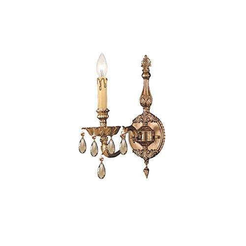 Light Novello Sconce 1 (Crystorama 2501-OB-GT-MWP Crystal Accents One Light Sconces from Novella collection in Brassfinish, 8.50 inches)