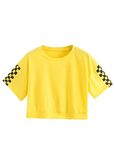 (HUILAN Women's Casual Short Plaid Sleeve Crop T-Shirt Tops Yellow S)