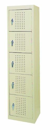 Sandusky LF55151866 22 Gauge Welded Steel Five Tier Storage Locker, 15 Width x 66 Height x 18 Depth, Putty