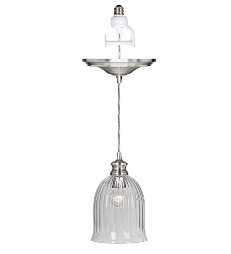 Plow & Hearth Bell Shaped Ribbed Glass Pendant Light