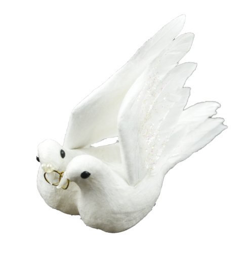 Touch of Nature 1-Piece Flocked/Feather Wedding Dove Couple for Arts and Crafts, 4.5-Inch, White with Gold Colored Rings