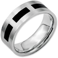 Bridal Stainless Steel Black Rubber Flat 8mm Brushed Band