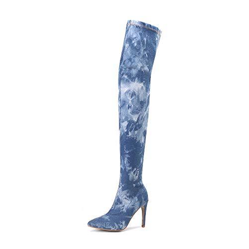 Sonnena Damen Sexy Denim Overknee Stiefel Casual High Heels Reißverschluss Stiefel Langschaftstiefel Schuhe Bequem Spitz Toe Part Hohe Schlauchstiefel Vintage Frauen Boots Shoes 35-42 Blua
