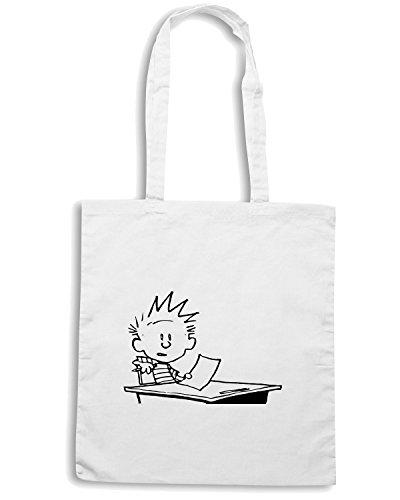 T-Shirtshock - Bolsa para la compra FUN0929 calvin at school vinyl diecut decal 14876 Blanco