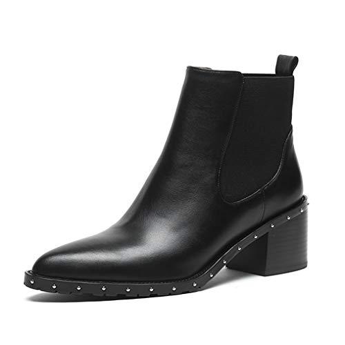 GIY Women High Heels Chelsea Boots Winter Side Zip Pointed Toe Footwear Rivet Female Slip On Short Ankle Boot Black