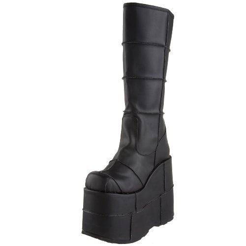 Leather Vegan EU 7 STACK Blk 40 Demonia 301 UK nqFOtFIW