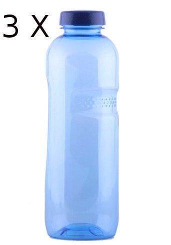 3 * Trinkwasserflasche 1 Liter aus Tritan, mit Blüte des Lebens - Symbol Aufdruck auf dem Trinkdeckel, Flasche gibt keine Schadstoffe ab (FDA Zulassung), und ist hervorragend geeignet um gefiltertes Wasser aufzubewahren; große Öffnung (4cm), spülmaschineng