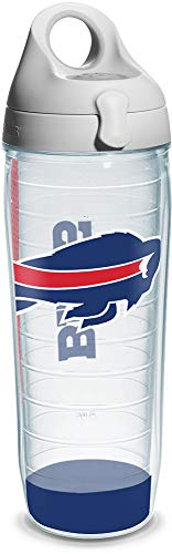 Tervis 1104626 NFL Buffalo Bills Wrap Individual Water Bottle with Gray lid, 24 oz, Clear -