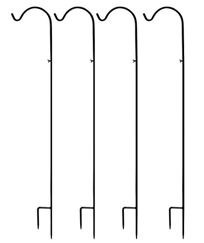 ESYLIFE Premium Metal Black 59 inch Adjustable Shepherd Hook For Hanging Plant (Life Hook)