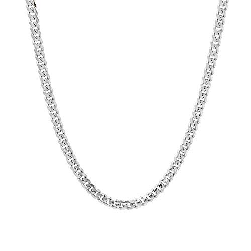 Verona Jewelers 5.5MM Italian 925 Sterling Silver Classic Curb Cuban Chain Necklace for Men- Curb Link Necklace Bracelet 8