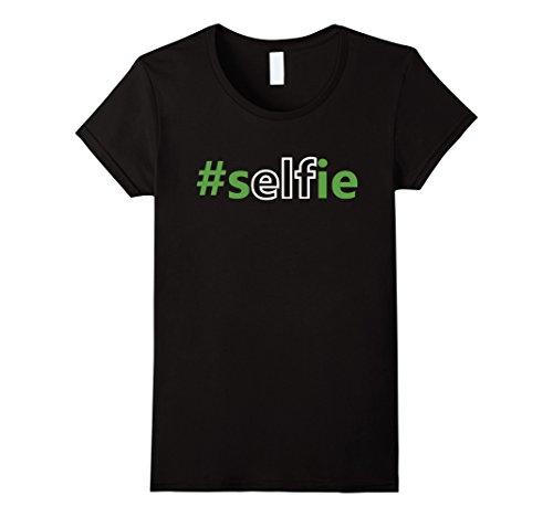 [Women's Elfie Selfie Elf on the Shelf Costume with Hat Funny T-Shirt Large Black] (Elf On Shelf Costumes)