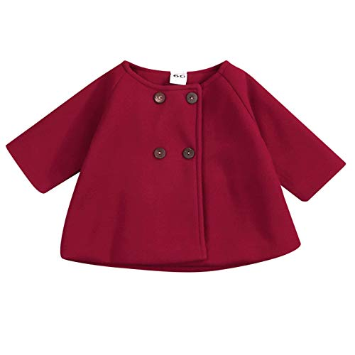 Baby Coats 2019 Fall Winter Kid Baby Girl Cloak Button Jacket Clothes Baby Outwear Clothes Set (Wine red, 12-18 m)