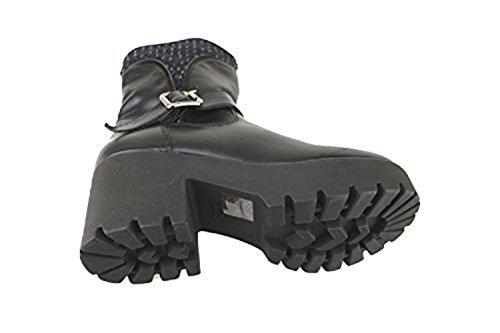 FRANCESCO Ankle MILANO 6 US EU 36 Boots Leather Textile Woman AJ234 Black qEfrOE
