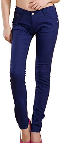 Snone A Autunno Donna Skinny Casual Trend Leggings Matita Pantaloni Corti Jeans Elasticità Lunghi Sottili Slim Stile Marina rn6r4wqBxg