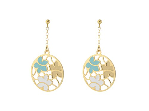 Fronay Co Etruscan Gold Turquoise & White Flower Earrings in Sterling Silver