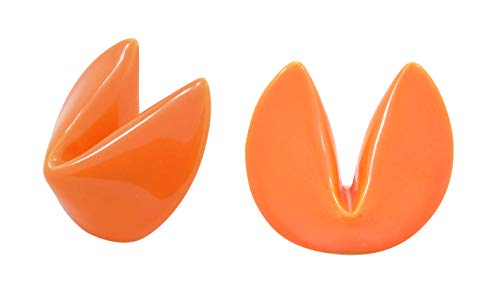 (Orange Ceramic Fortune Cookie Chopstick or Knife Rest, 1 3/4 Inches, Set of 2)