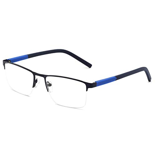 - OCCI CHIARI Optical Eyewear Non-prescription Eyeglasses Frame with Clear Lenses for Mens (Black+Blue)