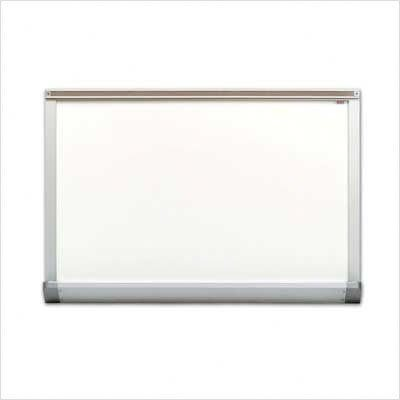 Marsh Pro-Lite 48''x96'' White Porcelain Markerboard, Contractor with Hanger Bar Aluminum Trim / 2'' Map Rail by Marsh