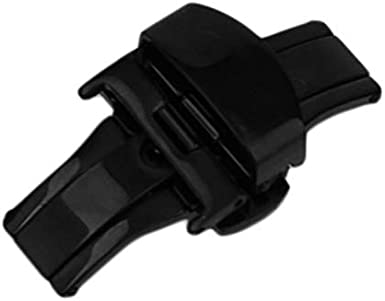 BianchiPatricia 18MM/20MM/22MM Watch Buckle Double Folding Butterfly Deployment Clasp Black