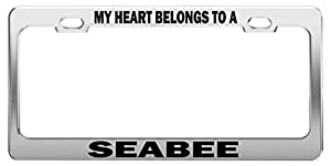 MY HEART BELONGS TO A SEABEE Tag License Plate Frame Car Accessories by General Tag