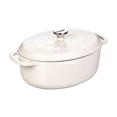 Lodge EC7OD13 Enameled Cast Iron Oval Dutch Oven, 7-Quart, Oyster White