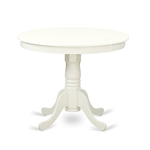 "East West Furniture ANT-LWH-TP Antique Table 36"" Round with Finish, Linen White"