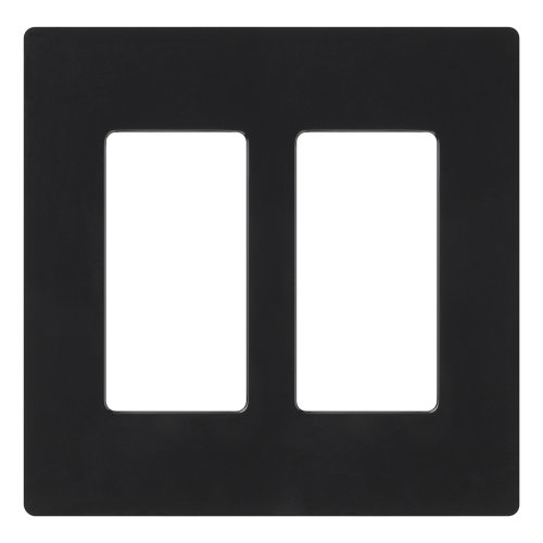 Lutron Claro 2 Gang Decorator Wallplate, CW-2-BL, Black