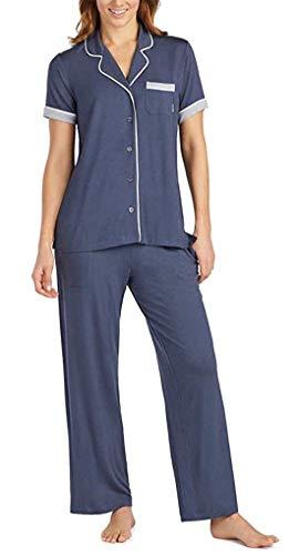 Pajama Top Dkny (DKNY Womens 2-Piece Notch Collar Pant Pajama Set, Variety (S, Navy))