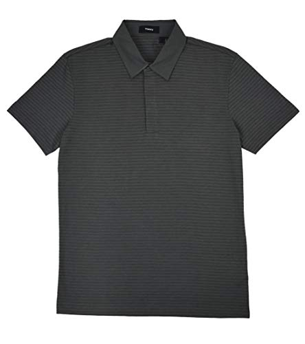 Theory Men's Claude NB Striped Knit Cotton Flame Jersey Hidden Button Polo Shirt Dark Grey (Medium)
