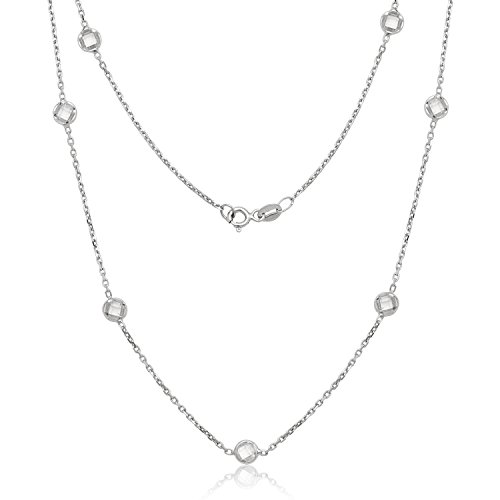 Beaux Bijoux Sterling Silver Bezel-Set Faceted Circle CZ Station by The Yard Necklace