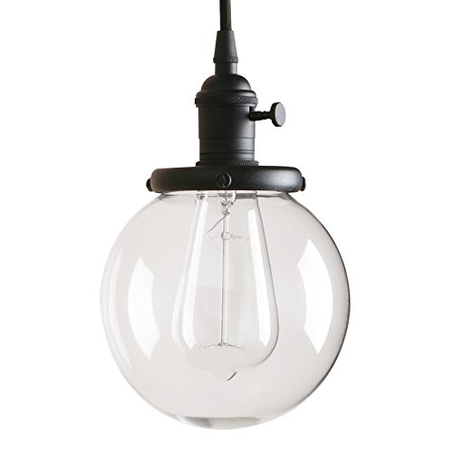 - Pathson Vintage Pendant Light, Industrial Style Light Fixtures with Clear Glass Globe Shade and E26 Base, Hanging Lamps for Living Room Kitchen (Black)
