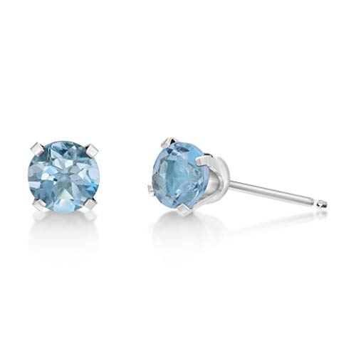 14k White Gold Blue Topaz Earrings - 1.12 CT Round 5MM Blue Topaz 14K White Gold Women Stud Birthstone Earrings