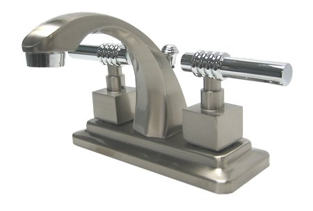 Milano Centerset Bathroom Faucet with Double Lever Handles Finish: Satin Nickel/Polished Chrome