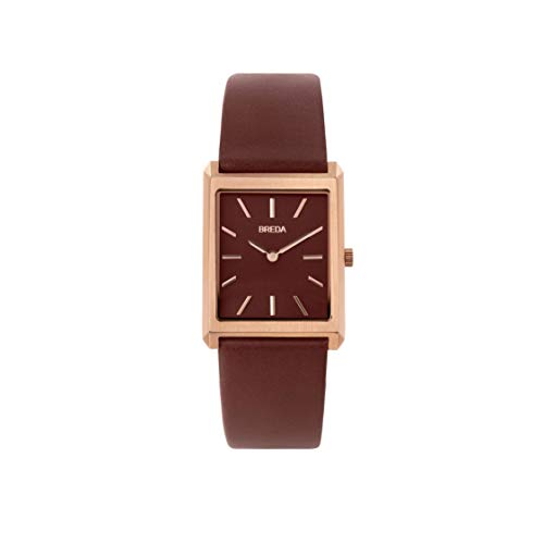BREDA Men s Virgil 1736 Square Wrist Watch with Genuine Leather Band, 26MM