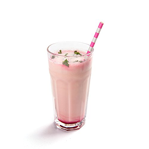 Biodegradable Paper Straws - Pink Rings - For Holidays, Birthdays, Weddings, Showers or Everyday - 7.8