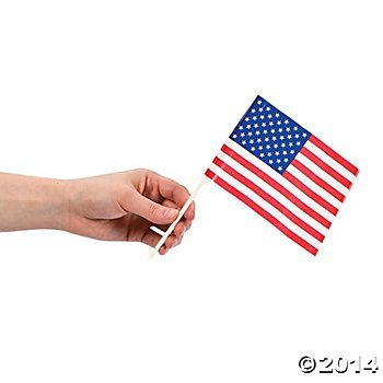72 Piece Bulk Pack Plastic Mini American Flag Cupcake Pick Toppers Patriotic 4th of July Party Favor Supplies Decoration Accessories 4 X 6 Inch