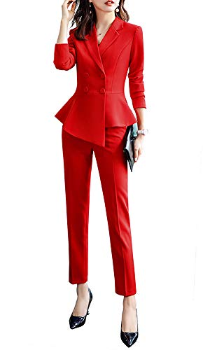 Women's 2 Pieces Office Blazer Suit Work Blazer Jacket,Pant/Skirt (Red, - Suit Skirt Double Breasted
